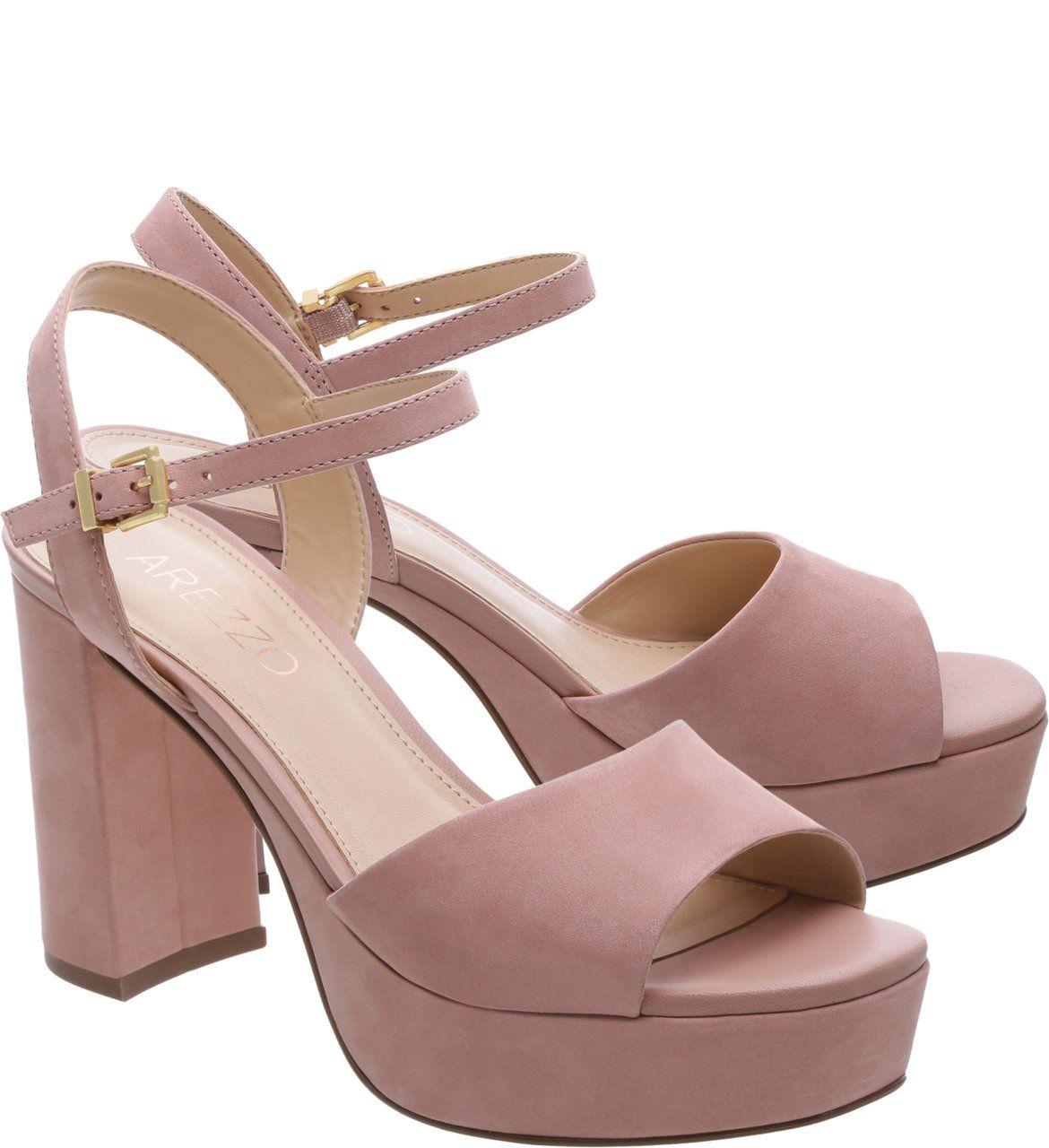 36d10a88cb Sandália Plataforma Nobuck Feminino Rose Blush