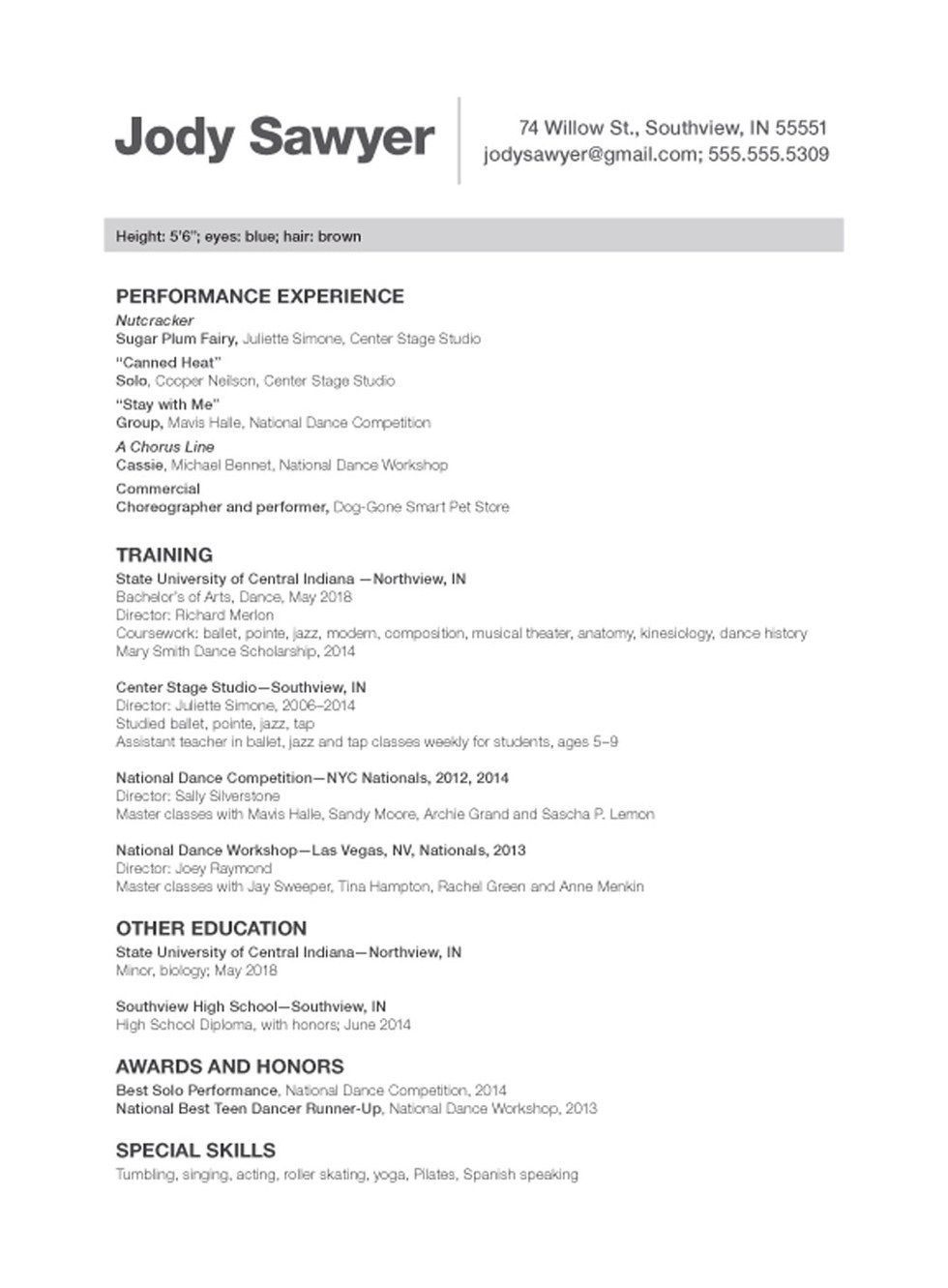 Sample Talent Resume Enchanting Sample Dance Resume Cover Letter Examples Actor Audition Beginner .