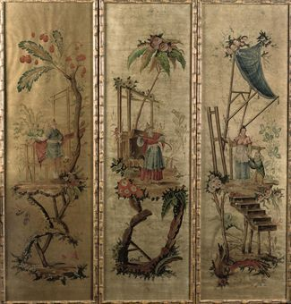 THREE FRENCH CHINOISERIE PANELS, WATERCOLOR ON PAPER   FIRST HALF 19TH CENTURY, THE FRAMES LATER   Framed in a later faux-bamboo surround (unexamined out of frame)   158 cm. high x 46 cm. wide (3)  E11250