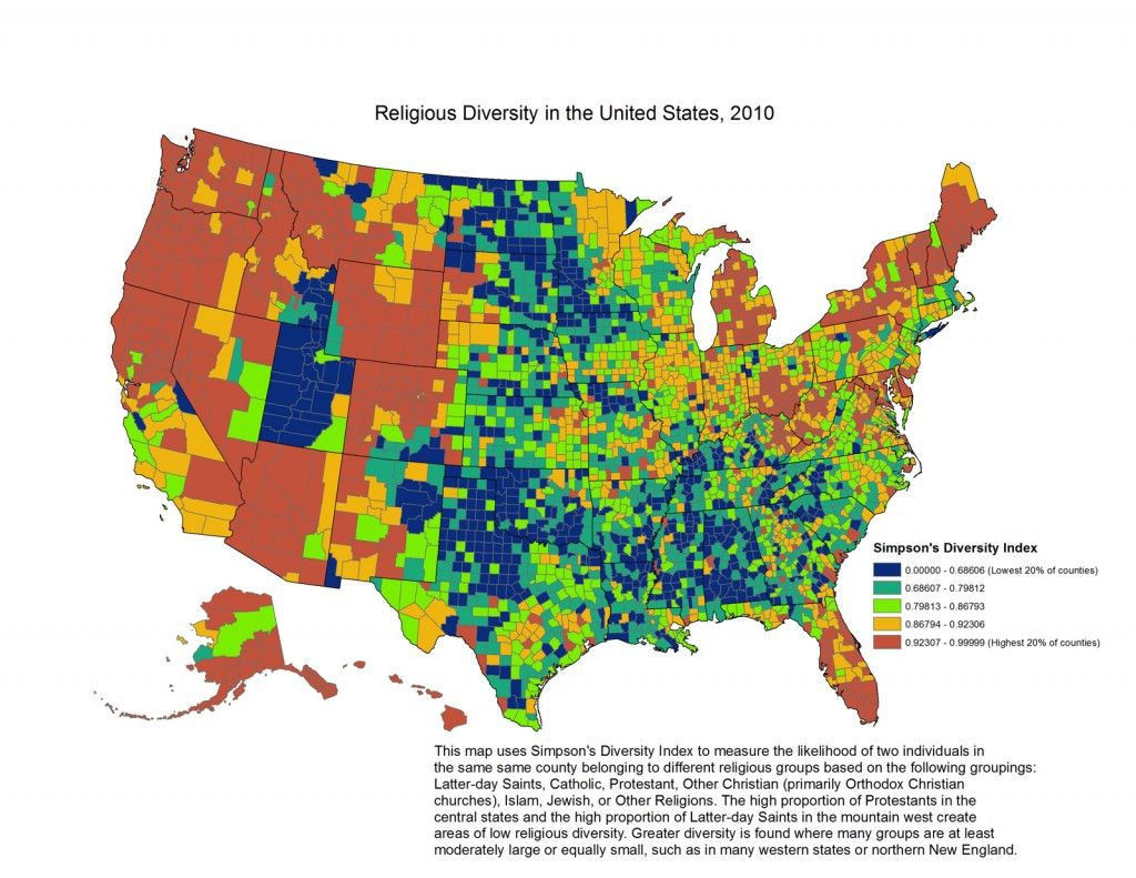 Religion In Americas States And Counties In Maps Religion - Religion map of the world 2013