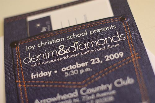 "Denim Wedding Invitations: Denim And Diamonds Invitation ""jean Pocket"""
