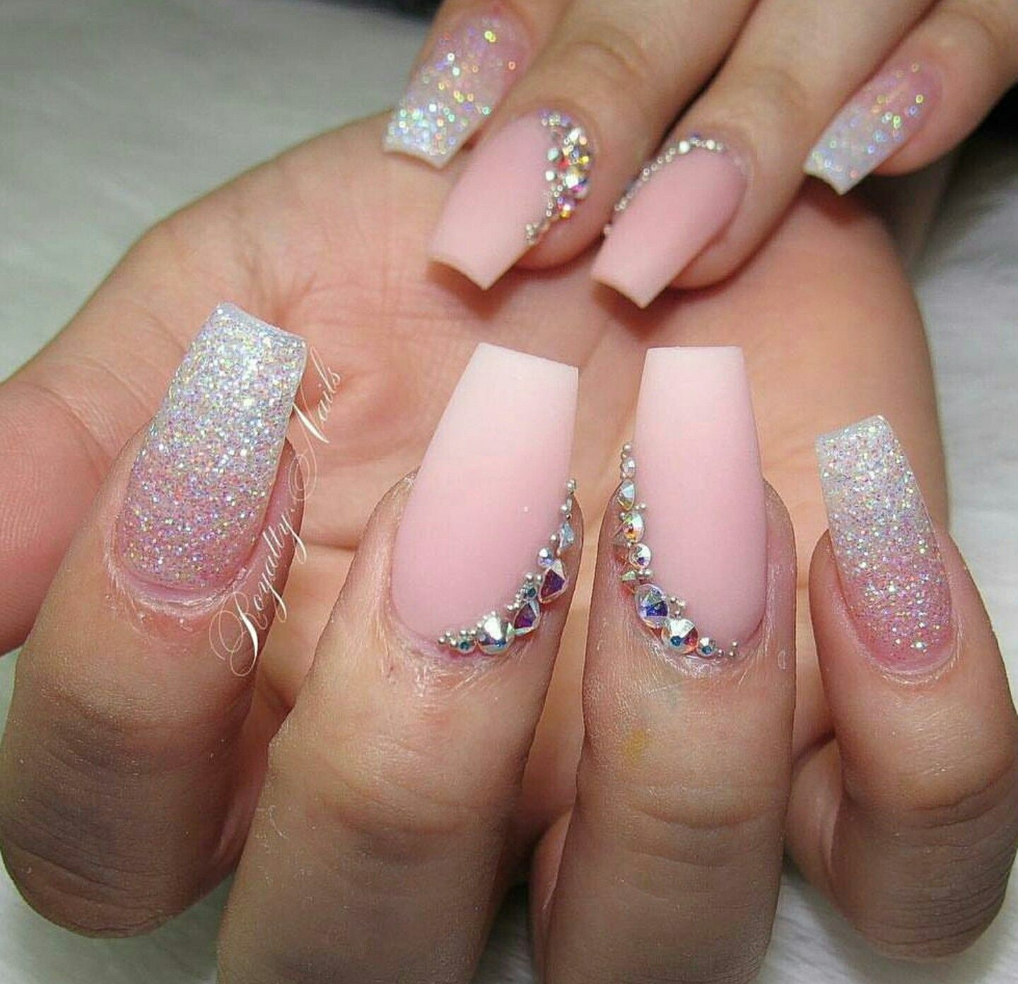 Tapered Square Nails Acrylic Matte Soft Pink