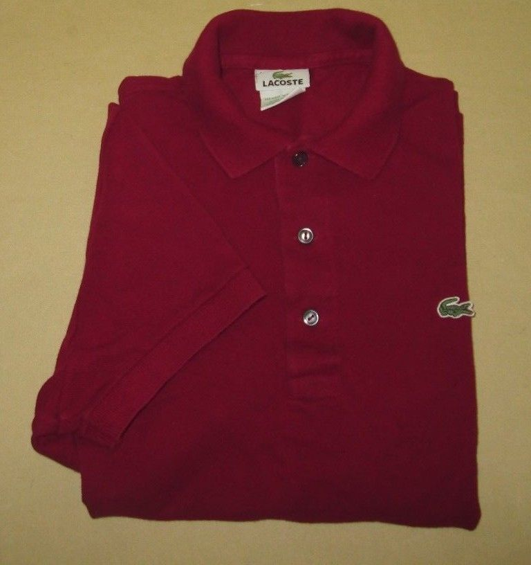 burgundy lacoste polo shirt