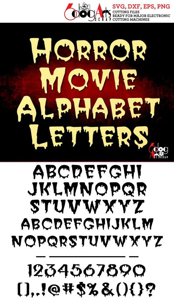 Horror Movie Alphabet Letters Digital Cut Files Svg Dxf Eps