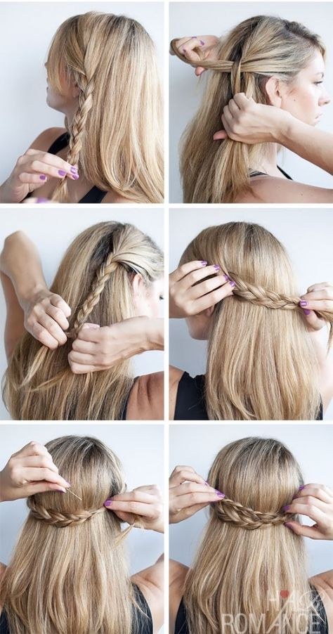 12 Cute Hairstyle Ideas For Medium Length Hair Medium Hair Styles Half Crown Braids Short Hair Styles Easy
