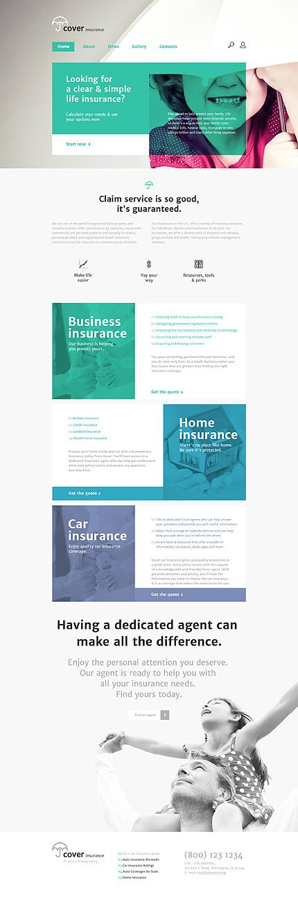 Template 57876 - Cover Insurance Responsive Website Template | ICG ...