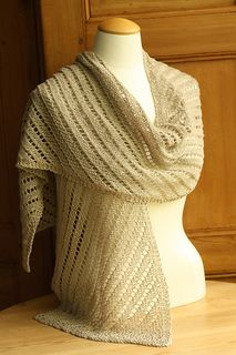 This pattern has been replaced by the Churchmouse Classics pattern, the Diagonal Lace Scarf & Wrap. The new pattern contains directions for 2 gauges in both scarf and wrap sizes, enhanced blocking directions, a chart, and photography by Jared Flood.