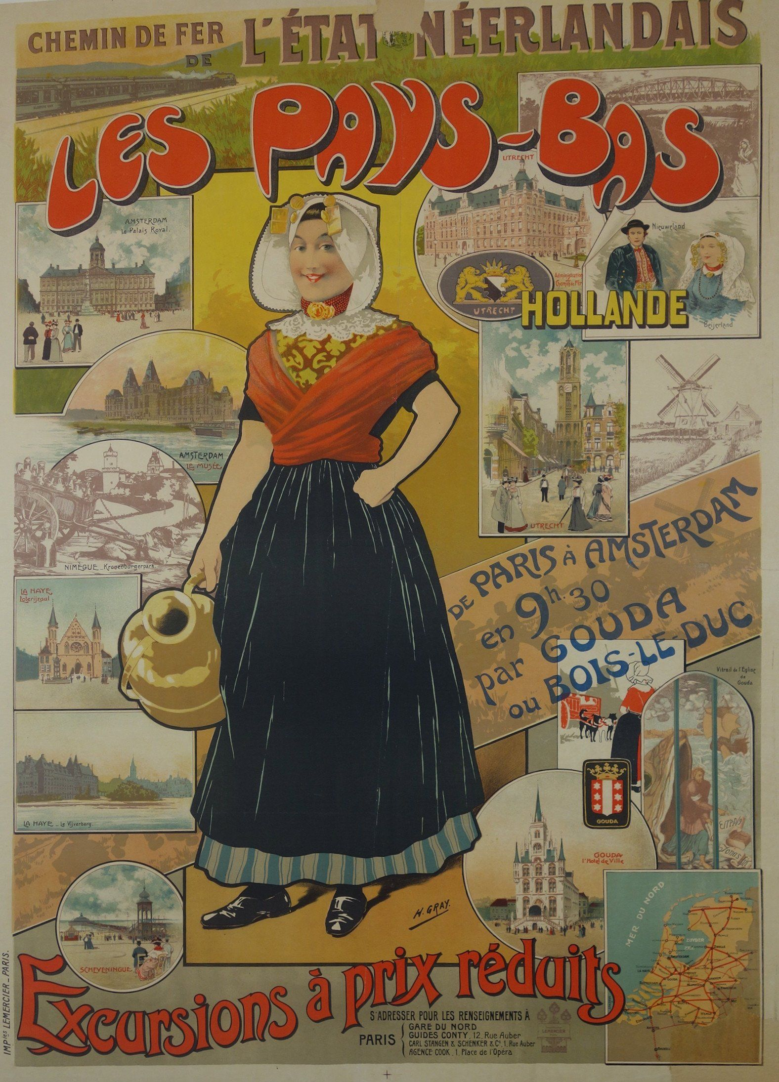 1895 Exposition Amsterdam Holland Netherlands Trip Vintage Poster Repro FREE S//H