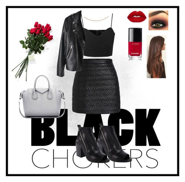 """""""Leather look"""" by flaviecygan on Polyvore featuring mode, Topshop, Dolce Vita, Givenchy, Chanel, Lime Crime, Hanky Panky et IBB"""