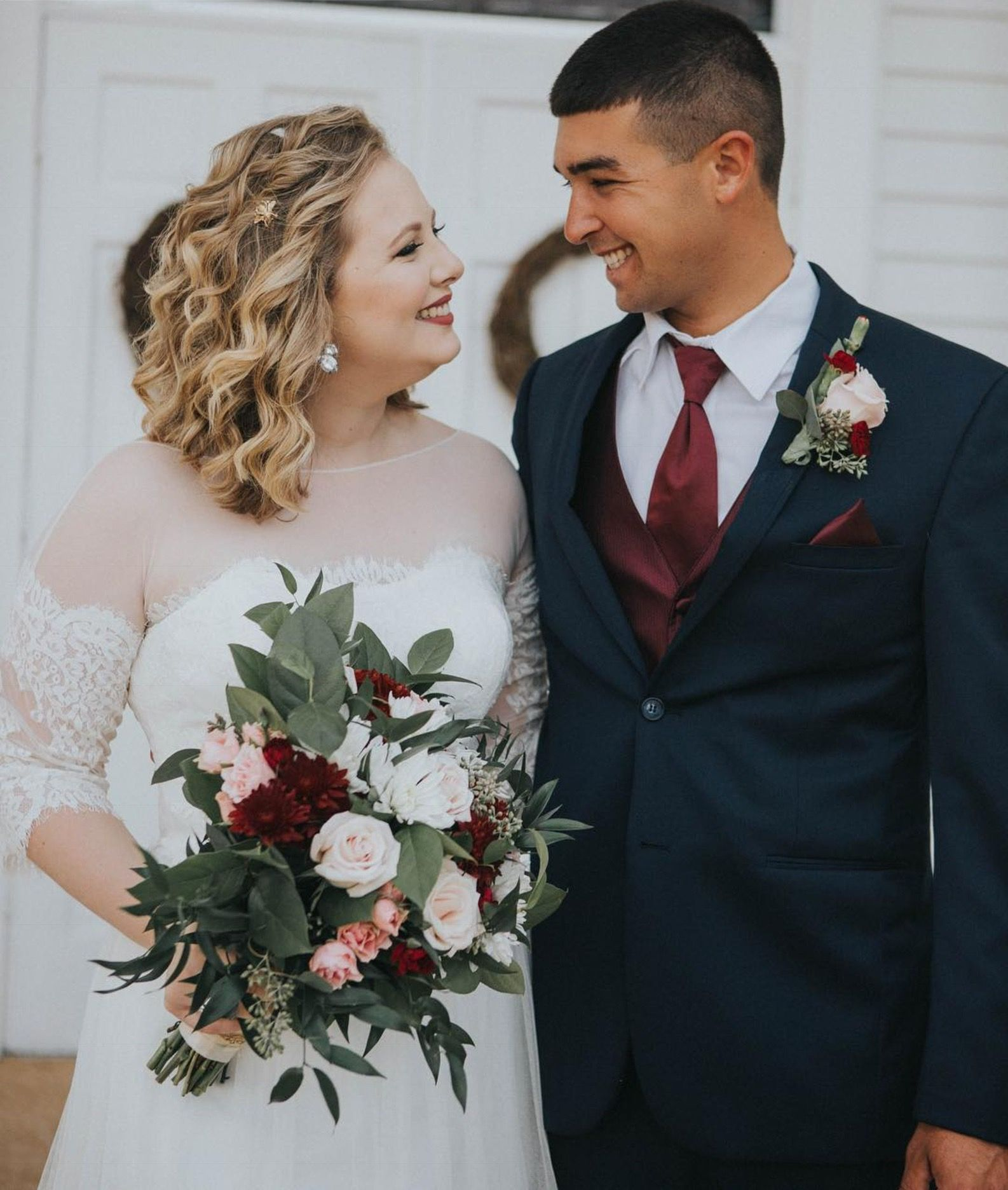 Pink and ivory wedding dress  Burgundy blush white and cream wedding scheme come alive with this