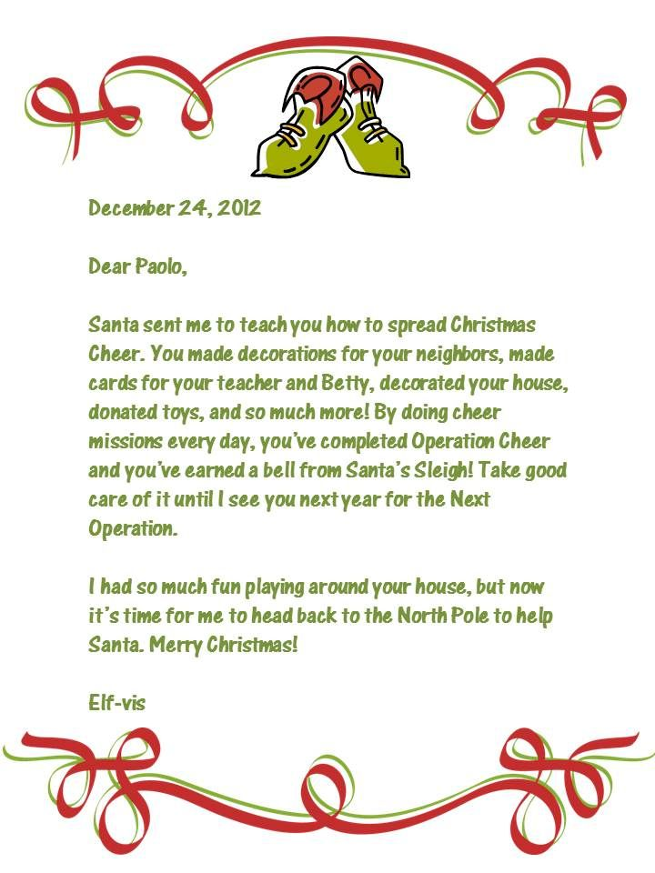 Elf on the Shelf Goodbye Letter Buddy Elf Pinterest Elf on