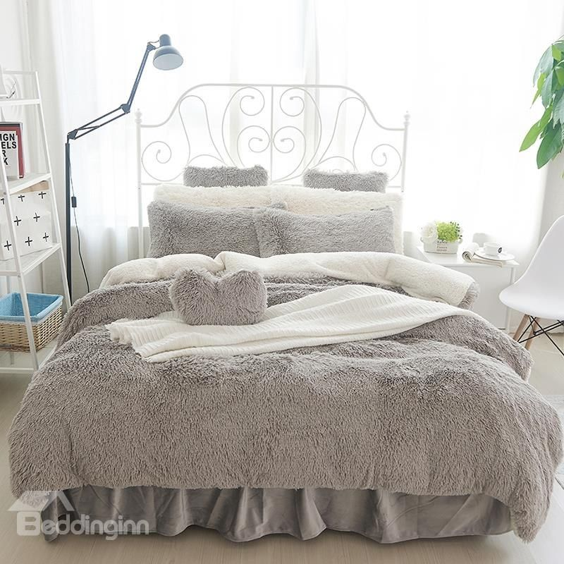 Fluffy Solid Gray and White Color Blocking 4Bedding Sets