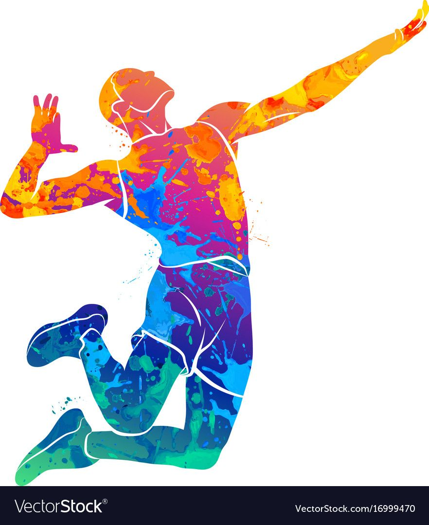Abstract Volleyball Player Vector Image On Vectorstock Volleyball Wallpaper Volleyball Drawing Volleyball Images