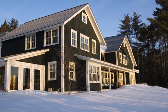 Black siding with white trim my dream home pinterest for Dark green siding