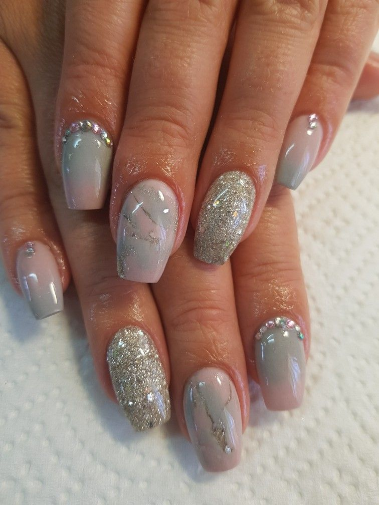 Grey and Pink Ombre with Marble Effect | Acrylic Nails | Pinterest