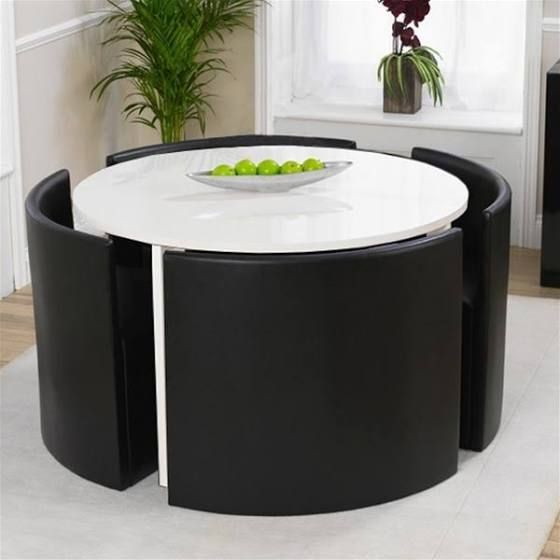 round space saving table and chairs uk