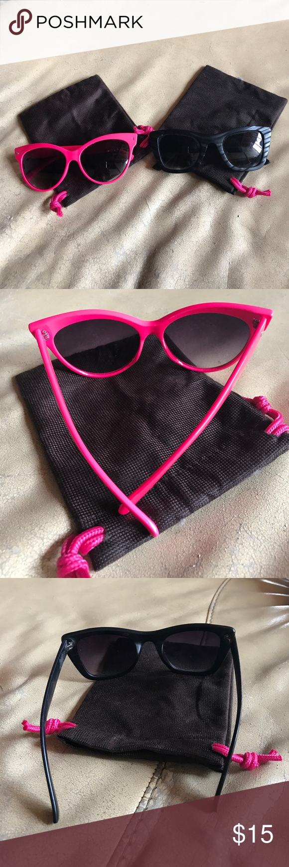 Fashion sunglass bundle Pink and Black💗Cat eye and Semi cat eye frames. Plastic, funky, strong... Show your style. Fashion Accessories Sunglasses