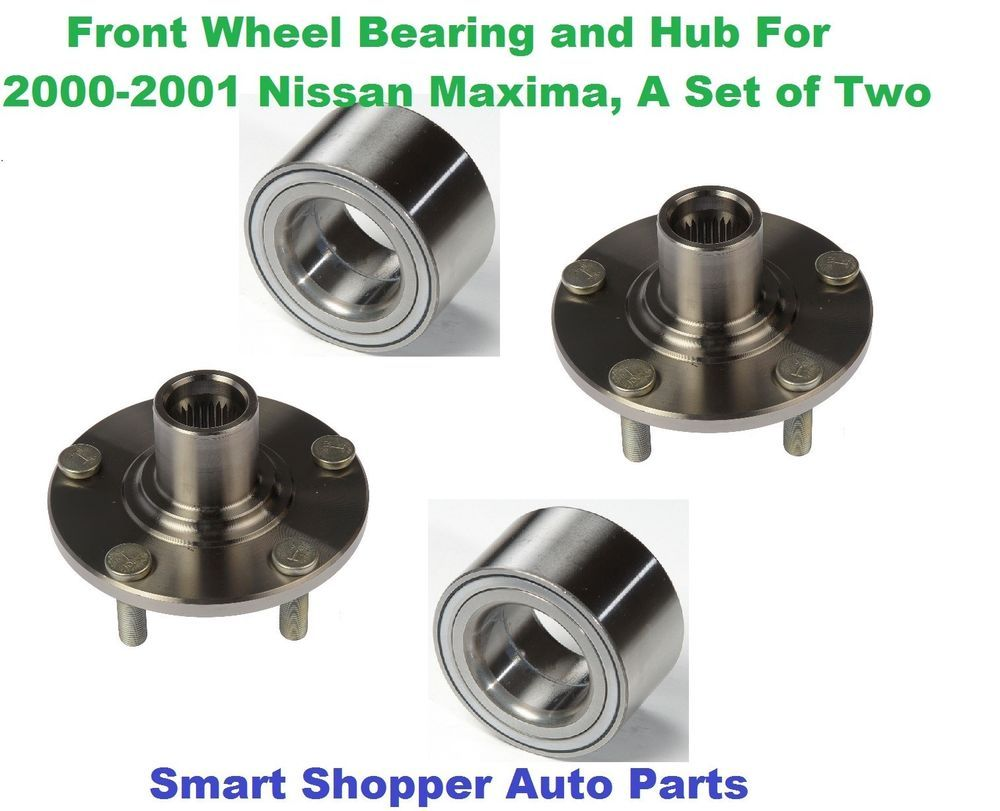 Front wheel bearing and hub for 2000 2001 nissan maxima a set of two left
