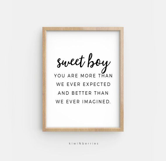 You Are More Than We Ever Expected Print Sweet Boy Printable Etsy Newborn Quotes Baby Boys Wall Art New Baby Quotes