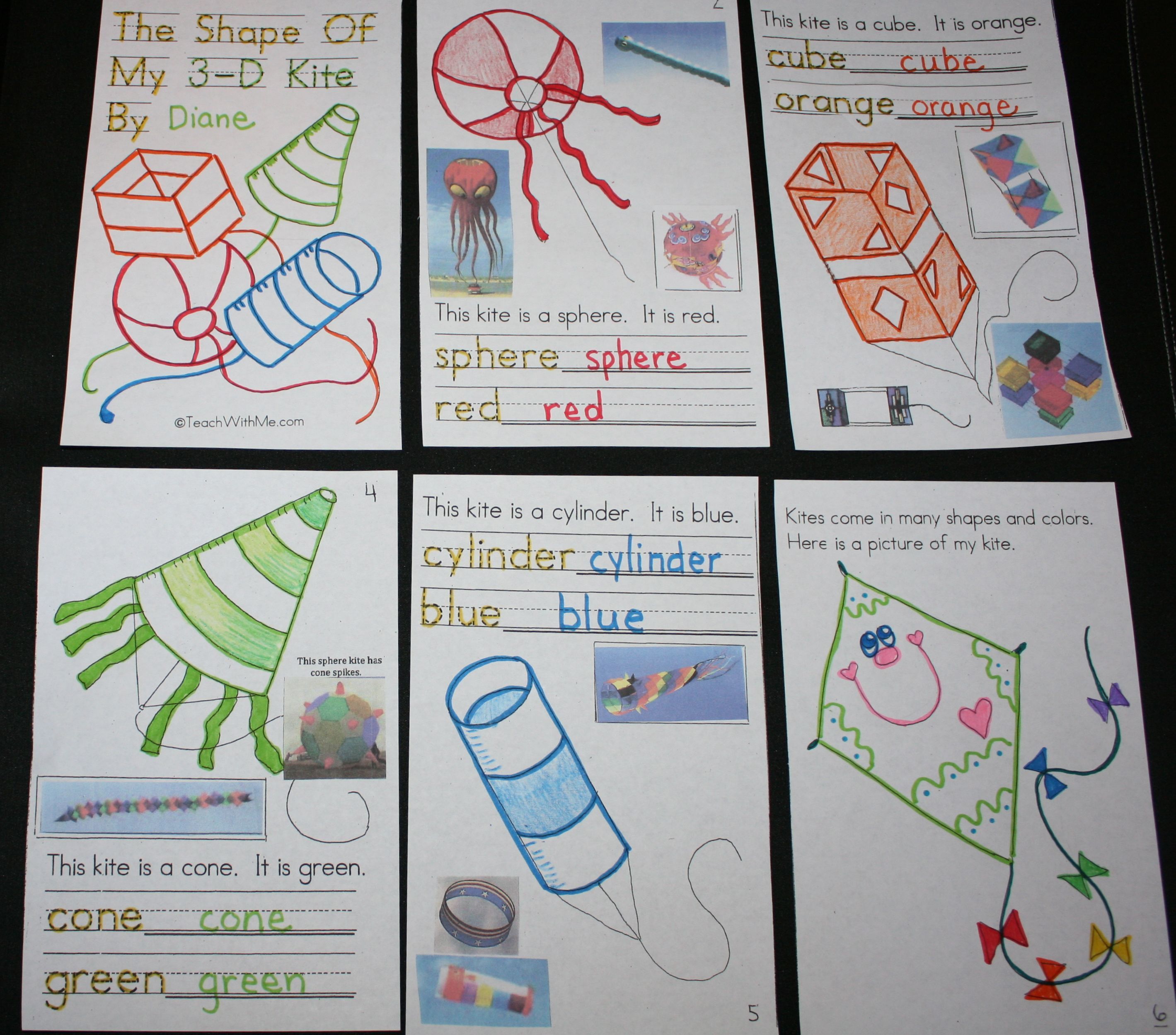 PK-2: 3D Shapes Kite Booklet | 3d shapes, Kites and Students