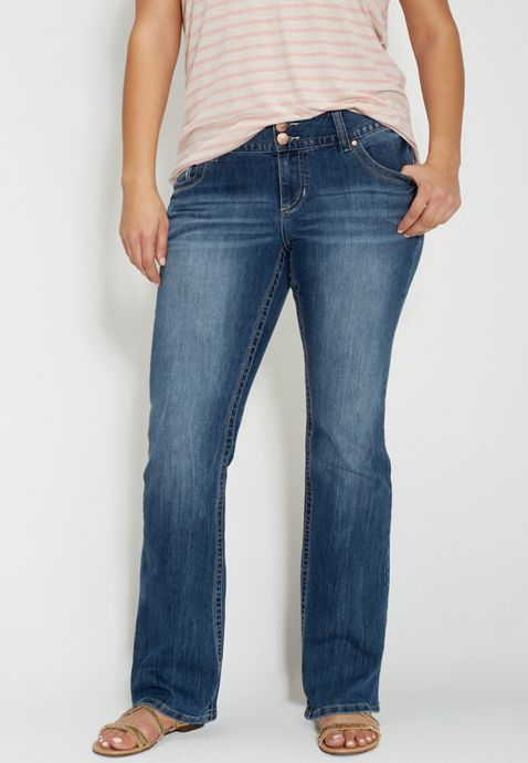 6718fe1b773 DenimFlex™ plus size bootcut medium wash jeans