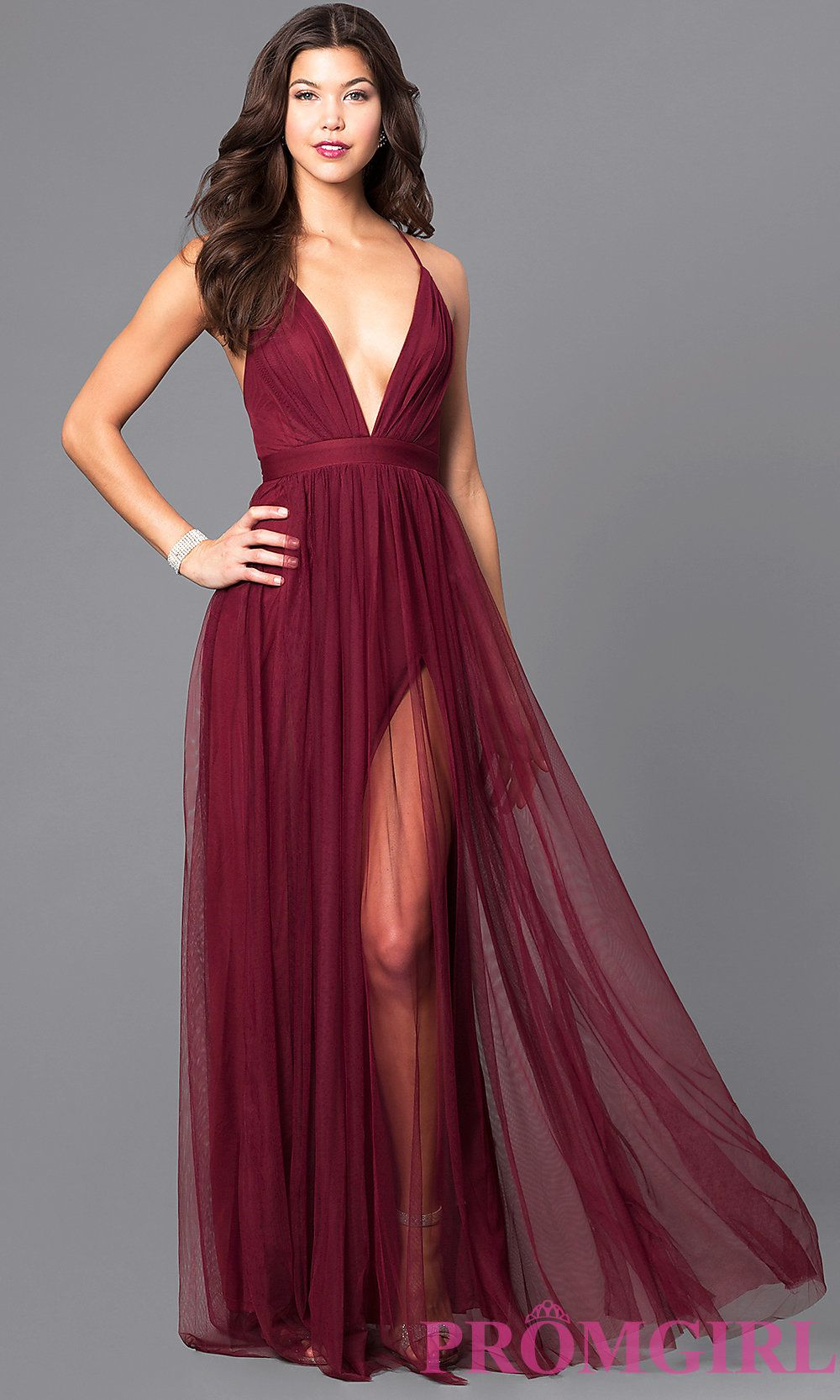 Image of long sexy prom dress with deep v-neckline. Front Image 3bd179771