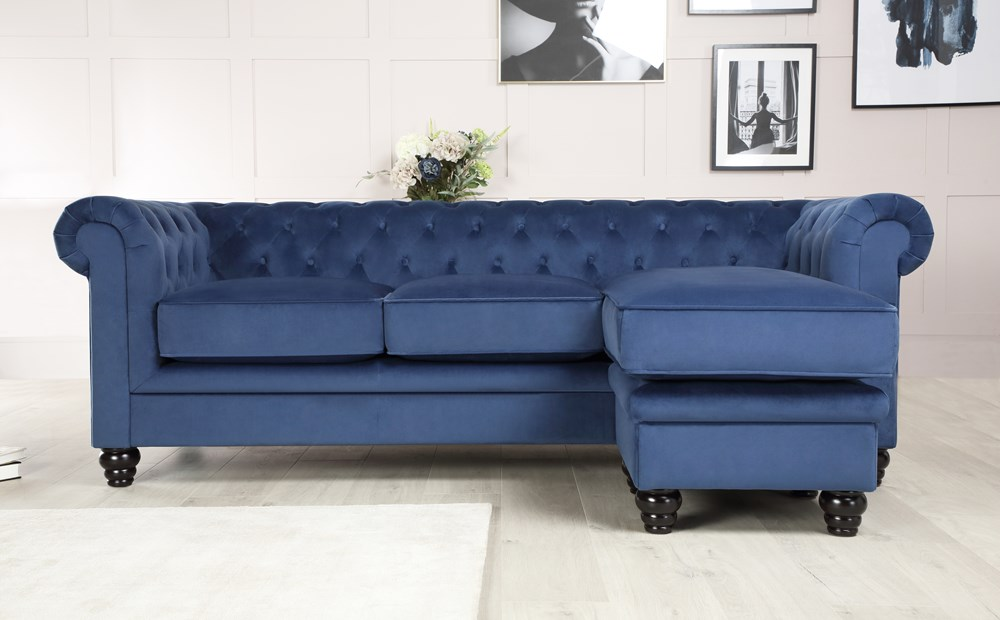 Hampton Blue Velvet L Shape Chesterfield Corner Sofa In 2020 Corner Sofa Chesterfield Corner Sofa Sofa