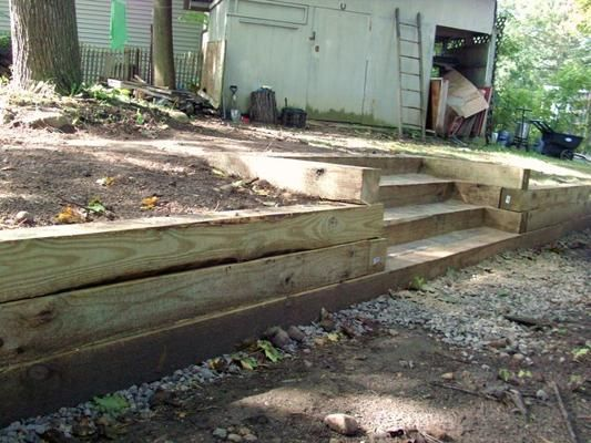 ... steps retaining walls landscaping,wood would work in my front yard. Of course the rest filled with flower gardens and shrubs!