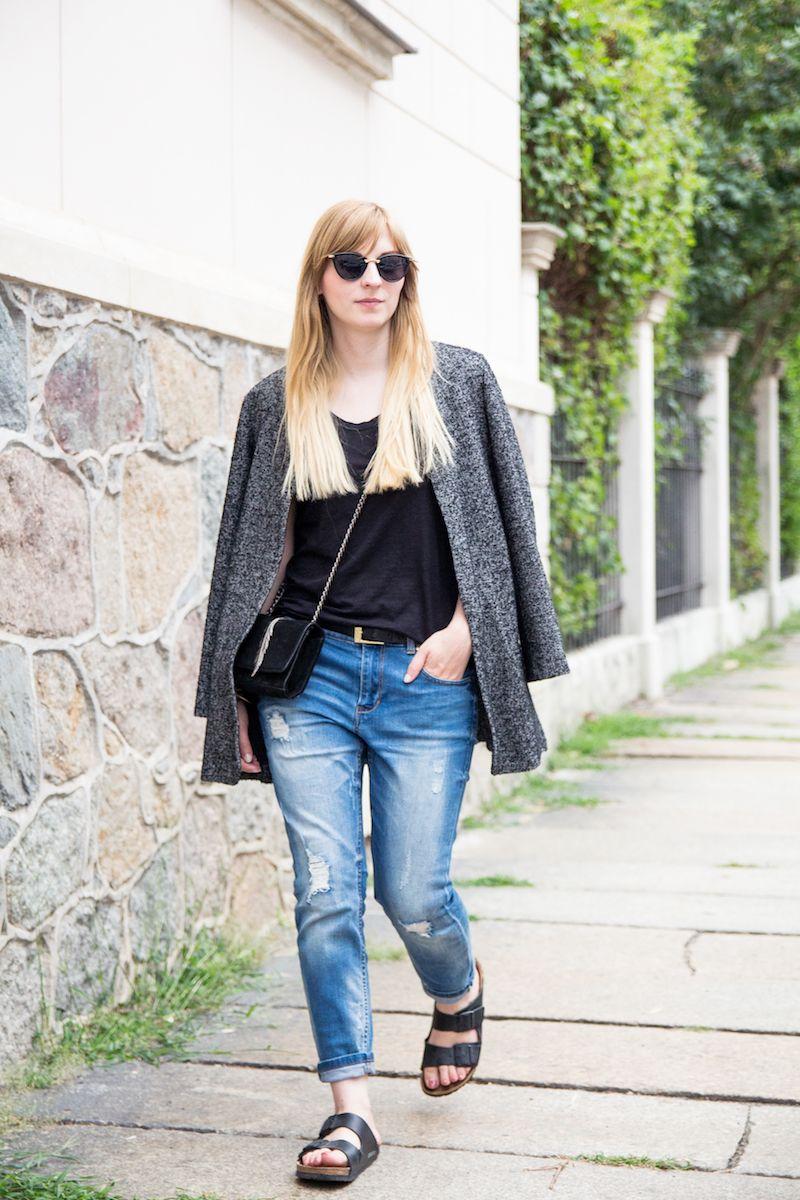 Outfit tomboy blazer, boyfriend jeans & birkenstocks