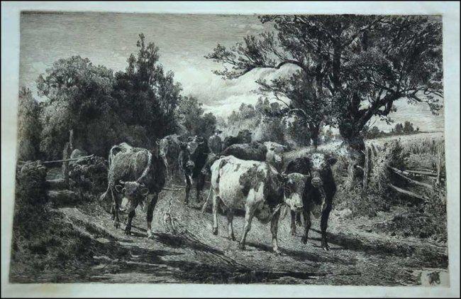 PETER MORAN (AMERICAN, 1841-1914) COWS ON THE ROAD. Lot 150-6026