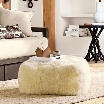 Seating - Sheepskin Pouf | west elm - pouf, sheepskin, floor pillow ...