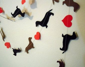 Dachshunds on Parade Paper Garland in Teal by HookedonArtsNCrafts