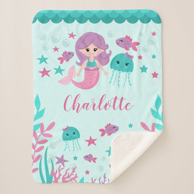 Cute Mermaid Personalized Girl Sherpa Blanket #mermaid #baby #blanket #personalized #mermaid #SherpaBlanket