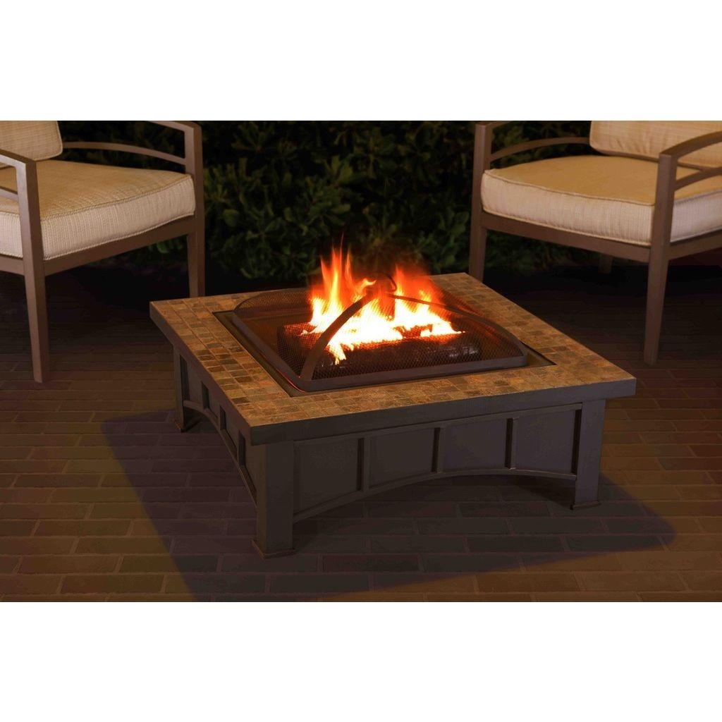 Sunjoy slate top inch square fire pit black steel outdoor