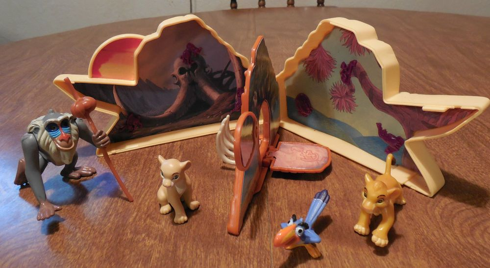 This is an Once Upon a time Lion King Playset. I am not for sure if it is complete or not. If you need them to be flawless they will not meet your expectations. Usa only----- usa only---- usa only---- usa only----