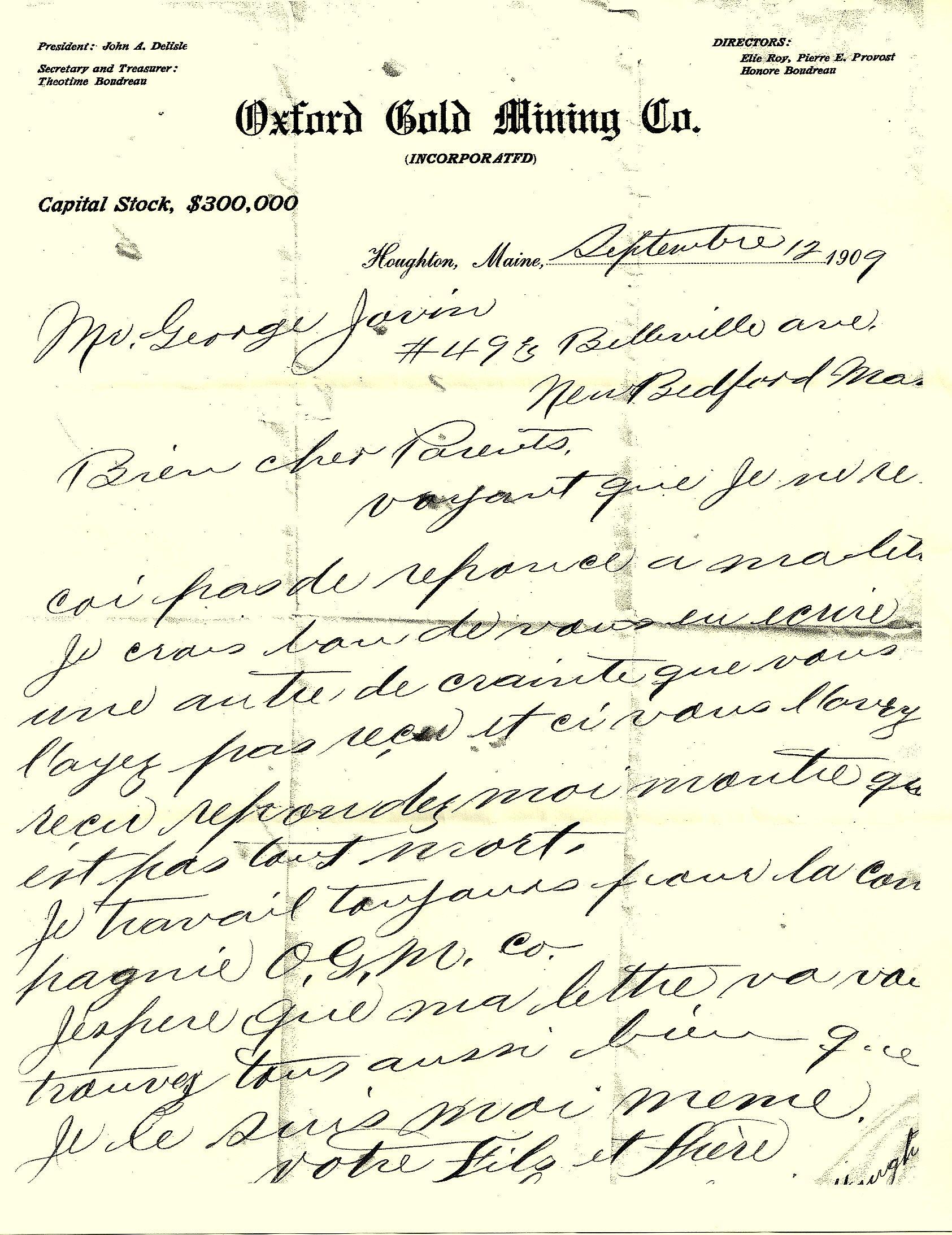 1909 letter to George Jovin of Belleville Avenue, New Bedford
