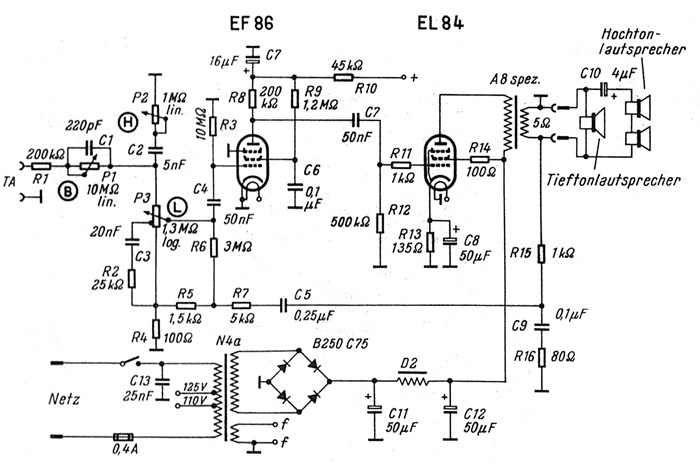 6 Watt Hifi R Hren Verst Rker Mit El 84 Electronica In