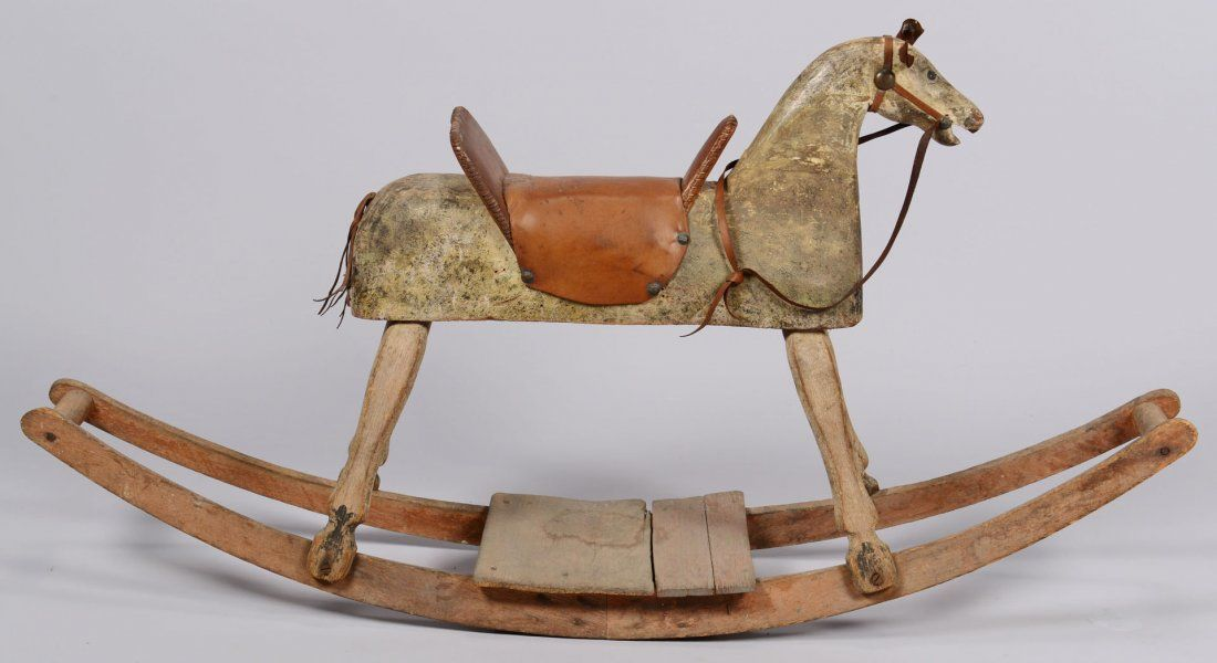 Painted Wood Rocking Horse Late 19th Folk Art