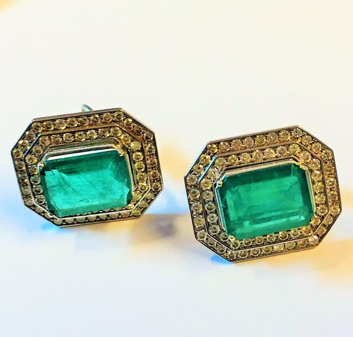 4dc28a61e Gold earrings with Emeralds and Diamonds - Catawiki | Colour stone ...