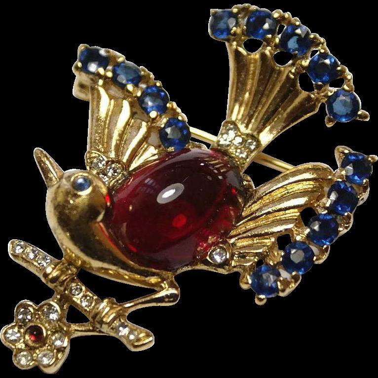 Trifari Sterling Red Cabochon Rhinestone Bird on a Branch Pin Brooch from luminousbijoux on Ruby Lane