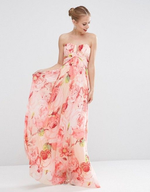 ASOS WEDDING Floral Printed Rouched Bandeau Mesh Maxi Bridesmaid ...
