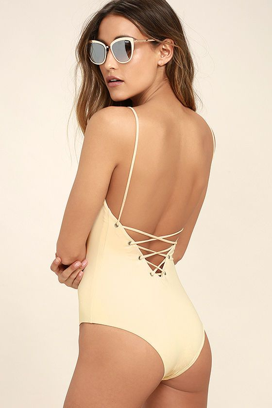 d84bee94e7 The Tavik Monahan Beige Lace-Up One Piece Swimsuit is so hot it's raising  temperatures wherever it goes! Sleek and stretchy knit forms this sultry one -piece ...