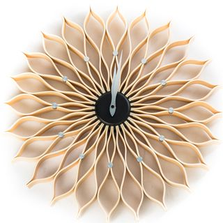 Mid Century Modern George Nelson 19 Inch Natural Style Wood Sunflower Clock    Overstock