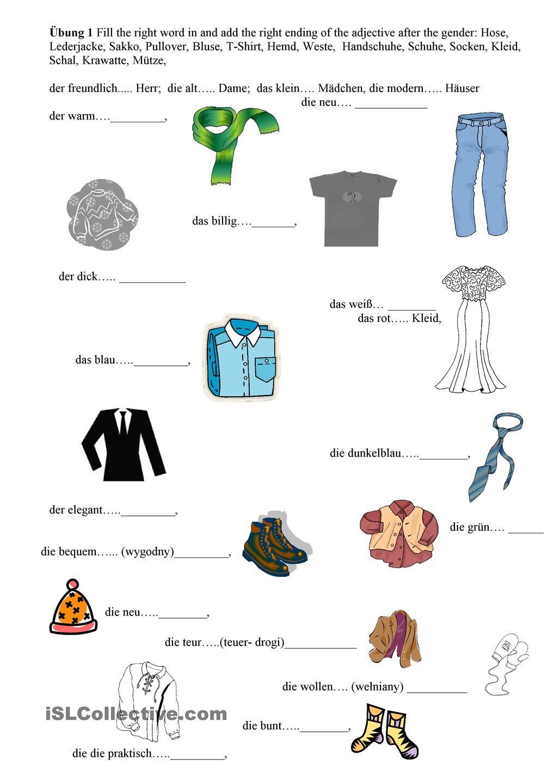 Arbeitsblatt Adjektive Kostenlos : Kleidung adjektive bekleidungsgeschäfte und