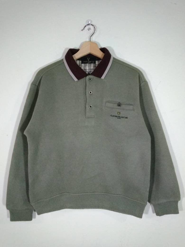 0878219c7f31 Claudio Valentino Paris Embroidered Crest Logo Green Pullover Vintage  Sweatshirt
