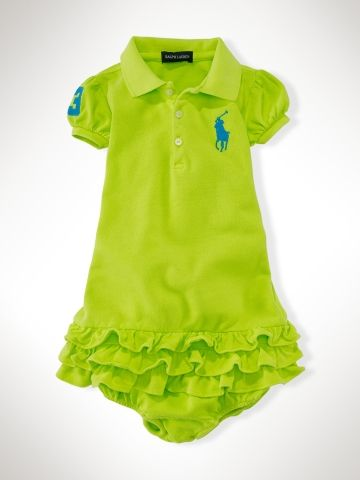 RALPH LAUREN Little Girl/'s Big Pony Ruffle Neon Dress Size 5