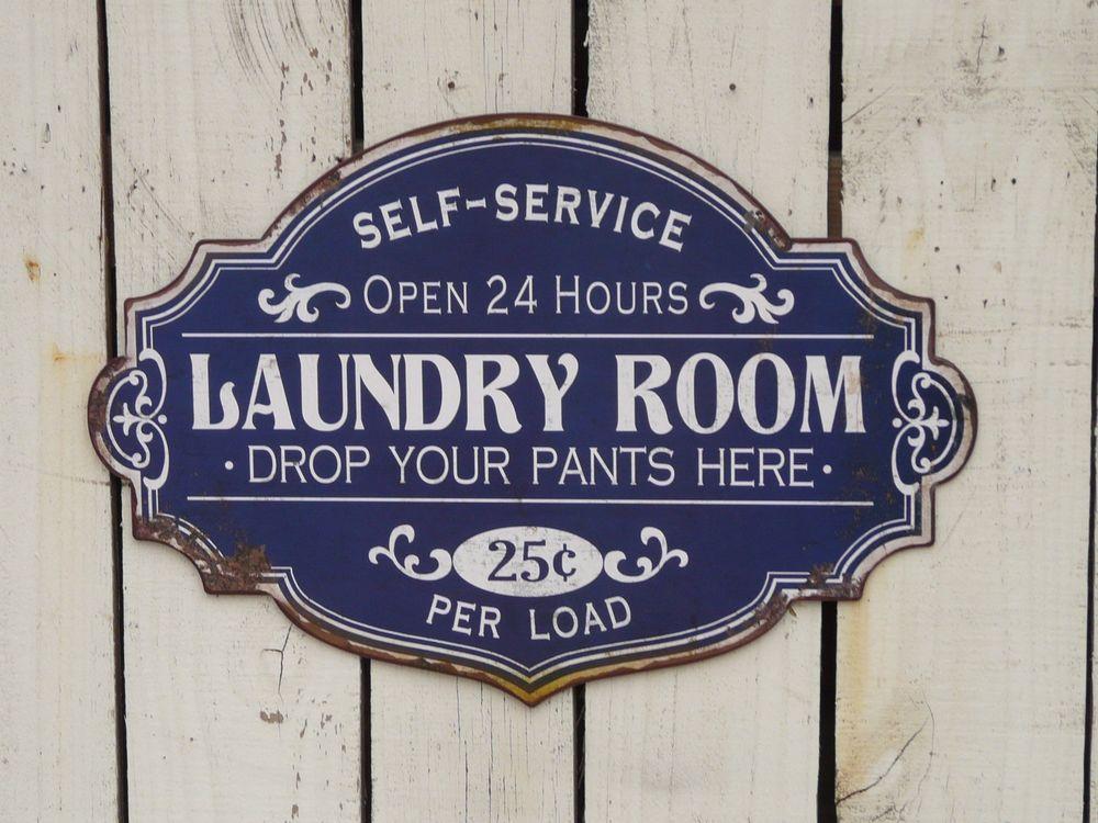 Primitive vintage style SELF SERVICE LAUNDRY sign