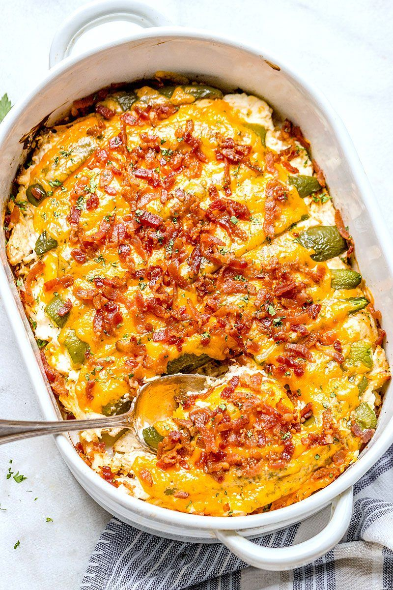 Jalapeño popper chicken casserole – So quick and easy.  Everyone will love this delicious chicke