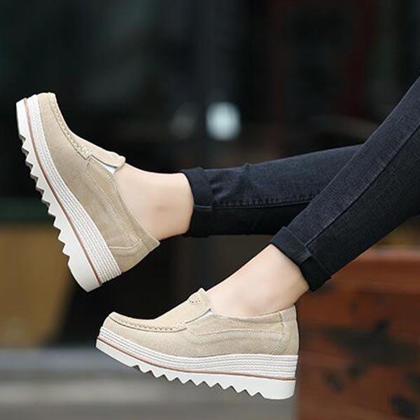 57da0543222d Womens Breathable Suede Round Toe Slip On Platform Shoes