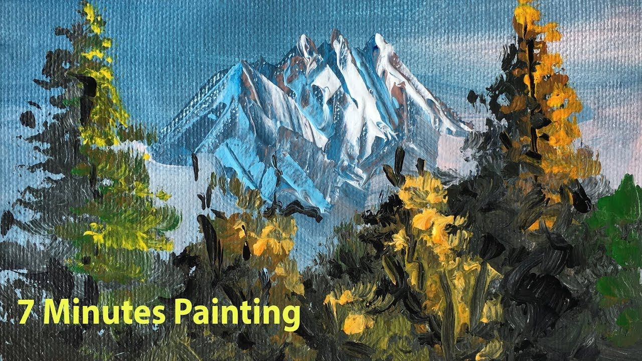 7 Minutes Painting Beautiful Scenery Landscape Painting Nature Paint Nature Paintings Landscape Paintings Mountain Landscape Painting